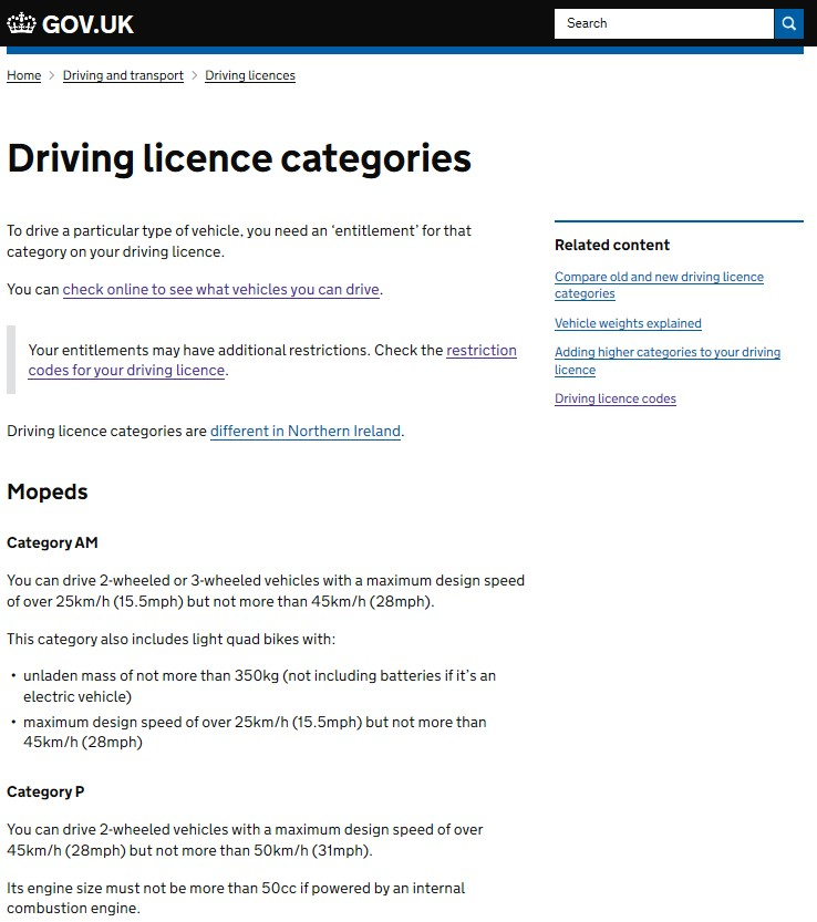 Driver Licence Categories