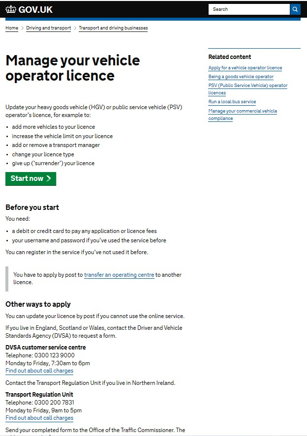 Manage Your Vehicle Operator Licence