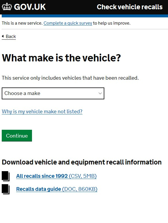 Check for Vehicle Recalls