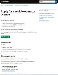 Apply for an operators licence